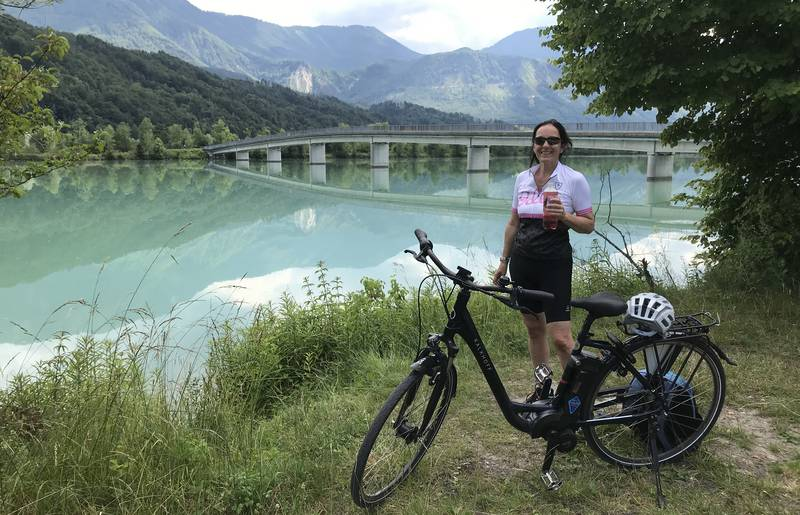 <p>Urlaub im Wohnmobil von Ute Zaworka, Camping Rosental Rož, E-Bike Tour am Drauradweg</p>