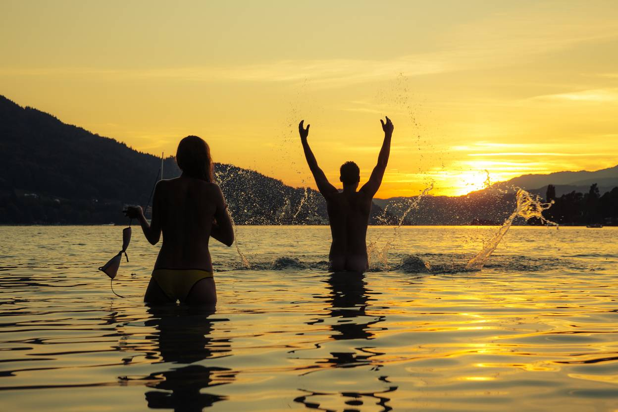 Camping Sonnenuntergangsschwimmen