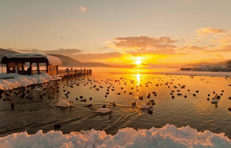 Klagenfurt am Wörthersee bei Sonnenuntergang